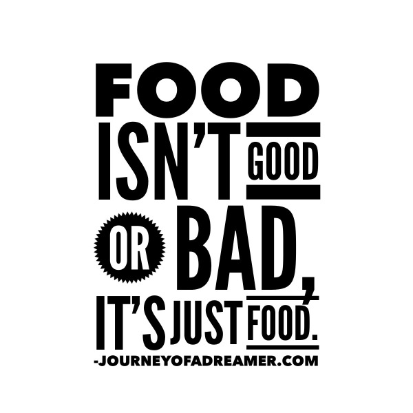 Food isn't good or bad, it's just food. How I learned balance, found a healthy relationship with food, and started to love my body.